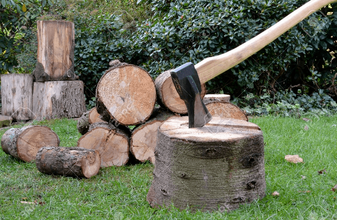 cut wood with sharp axe