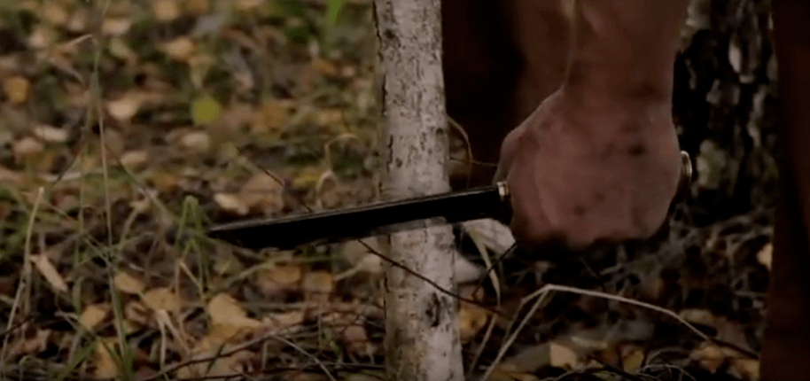 woodcutting with a sharp knife